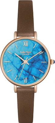 Ladies Blue Magnesite Leather Strap Watch Lr2024