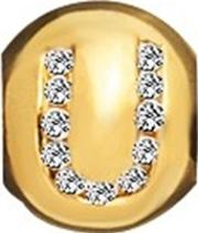 Gold Plated Silver Clear Cz U Bead