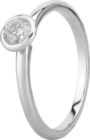 Contemporary 18ct White Gold 0.30ct Rubover Diamond Solitaire Ring C2rg002
