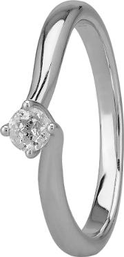 Grace 18ct White Gold 0.15ct Four Claw Twist Diamond Solitaire Ring C13rg001 015w