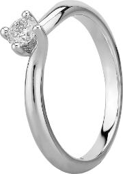 Grace 18ct White Gold 0.20ct Four Claw Twist Diamond Solitaire Ring C13rg001 020w