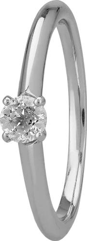 Simplicity Four Claw 18ct White Gold 0.27ct Diamond Solitaire Ring C5rg001 025w M12963