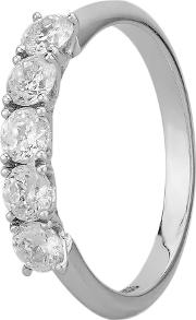 Simplicity Four Claw 18ct White Gold 0.75ct Five Stone Diamond Half Eternity Ring C5rg005 075w