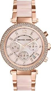 Blush Chronograph Dial Rose Gold Plated Bracelet Watch Mk5896