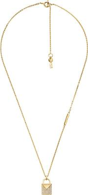 Color 14ct Gold Plated Pave Padlock Charm Necklace Mkc1040an710