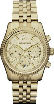 Gold Chronograph Date Dial Gold Plated Bracelet Watch Mk5556