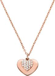 Kors Love 14ct Rose Gold Plated Pave Heart Necklace Mkc1120an791