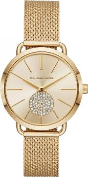 Ladies Portia Gold Plated Gold Crystal Set Dial Mesh Strap Watch Mk3844