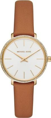 Ladies Pyper Gold Plated White Dial Brown Leather Strap Watch Mk2801