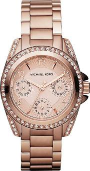 Ladies Rose Gold Plated Bracelet Watch Mk5613