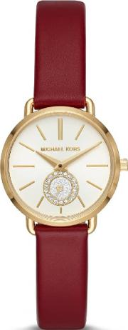 Portia Gold Plated Red Leather Strap Watch Mk2751