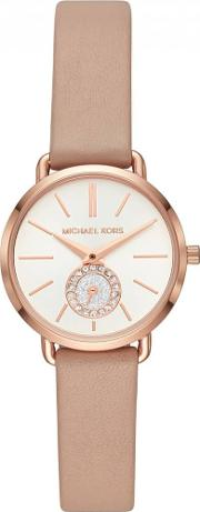 Portia Rose Gold Plated Pink Leather Strap Watch Mk2752