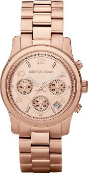 Rose Gold Plated Chronograph Dial Rose Gold Plated Bracelet Watch Mk5128