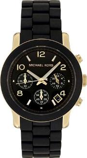 Runway Gold Plated Black Chronograph Watch Mk5191