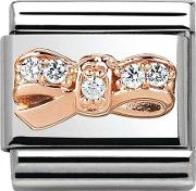 Classic Rose Gold Cubic Zirconia Bow Charm 43030212