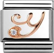 Classic Rose Gold Letter Y Charm 43031025