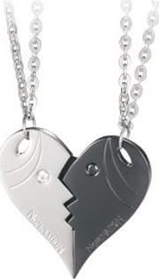 Me And You Steel Cz Heart Double Pendant 024200018