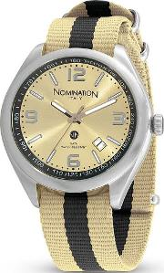 Mens Cruise Gold Fabric Watch 077100019
