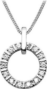 Ladies Sterling Silver Cubic Zirconia Open Circle Necklace P5011cz