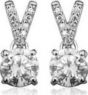 Ladies Sterling Silver Cubic Zirconia Pave Earrings S5025cz