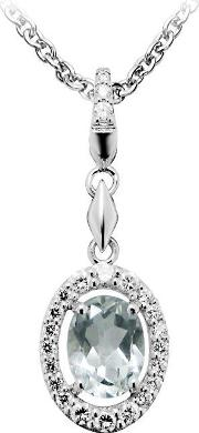 Ladies Sterling Silver Green And Clear Cubic Zirconia Necklace P5054gac