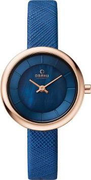 Ladies Blue Leather Strap Watch V146lxvlra
