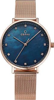 Ladies Rose Gold Plated Blue Mesh Bracelet Watch V186lxvlmv