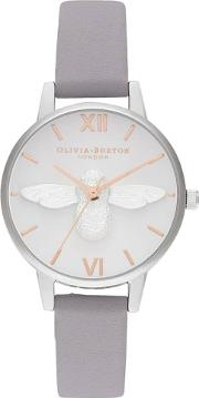 3d Bee Midi Dial Lilac Leather Strap Watch Ob16am163