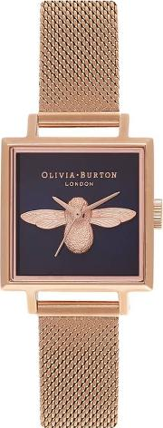 3d Bee Rose Gold Plated Square Dial Mesh Strap Watch Ob16am96
