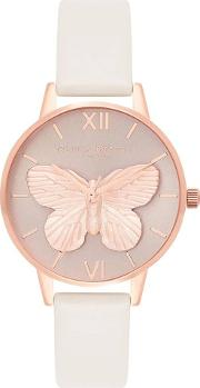 3d Butterfly Rose Gold Plated Blush Leather Strap Watch Ob16mb16