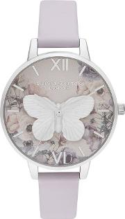 3d Butterfly Silver Dial Parma Violet Leather Strap Watch Ob16pp58