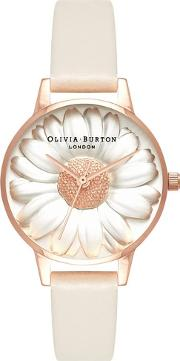 3d Daisy Rose Gold Plated Nude Strap Watch Ob16fs101