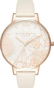Abstract Florals Rose Gold Plated Nude Strap Watch Ob16vm25