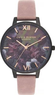 After Dark Black And Rose Pink Suede Leather Strap Watch Ob16ad38