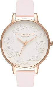Artisan Dial Pearl Paper Blossom And Rose Gold Leather Strap Watch Ob16ar01