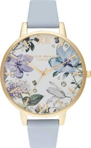 Bejewelled Florals Gold Plated Big Dial Chalk Blue Leather Strap Watch Ob16bf21