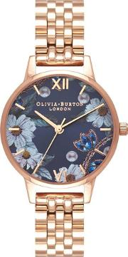 Bejewelled Florals Navy Sunray And Rose Gold Bracelet Watch Ob16bf17