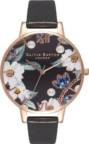 Bejewelled Florals Rose Gold And Black Leather Strap Watch Ob16bf04