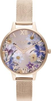 Best In Show Rose Gold Plated Floral Dial Mesh Strap Watch Ob16eg141