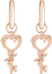 Celebration Key Rose Gold Plated Huggie Hoop Earrings Objbbe06