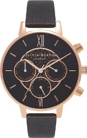 Chrono Detail Dot Rose Gold Plated Black Dial Leather Strap Watch Ob15cg44