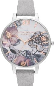 Eco Friendly Floral Dial Grey Leather Look Strap Watch Ob16vm23