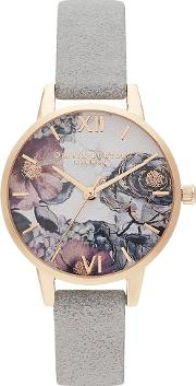 Eco Friendly Rose Gold Plated Floral Dial Grey Leather Look Strap Watch Ob16vm24