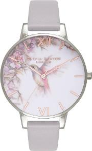 Enchanted Garden Grey Lilac And Rose Gold Leather Strap Watch Ob16pp23