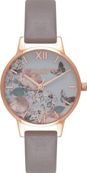 Enchanted Garden Midi Floral London Grey And Rose Leather Strap Watch Ob16eg67