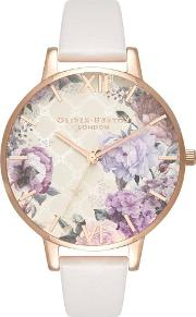Glasshouse Rose Gold And Blush Leather Strap Watch Ob16eg97