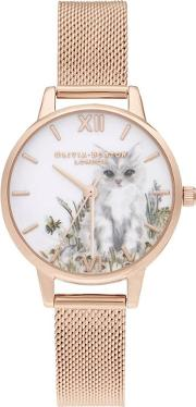 Illustrated Animals Cat Midi Dial Rose Gold Plated Mesh Strap Watch Ob16wl76