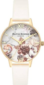 Marble Florals Gold Plated Nude Leather Strap Watch Ob16cs15