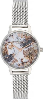 Marble Florals Midi Dial Stainless Steel Mesh Strap Watch Ob16cs16