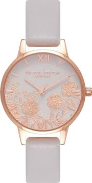 Midi Lace Detail Rose Gold And Blush Leather Strap Watch Ob16mv69